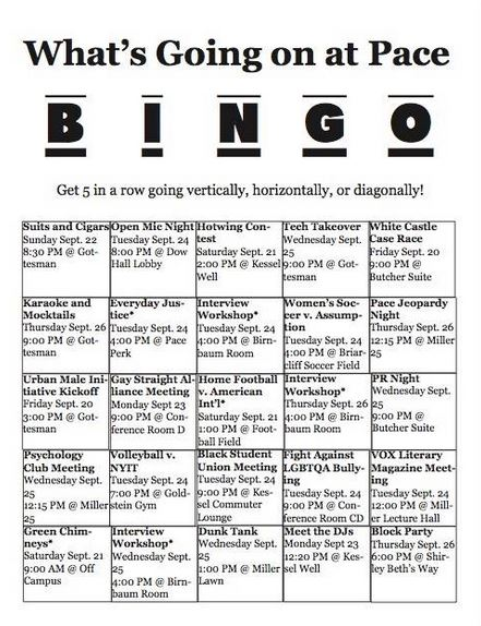 Encouraging a diversity of events and frequency of attendance with Event Bingo
