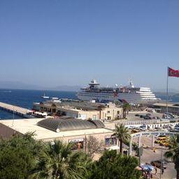 Cruise ship docked in Kuşadası's harbor