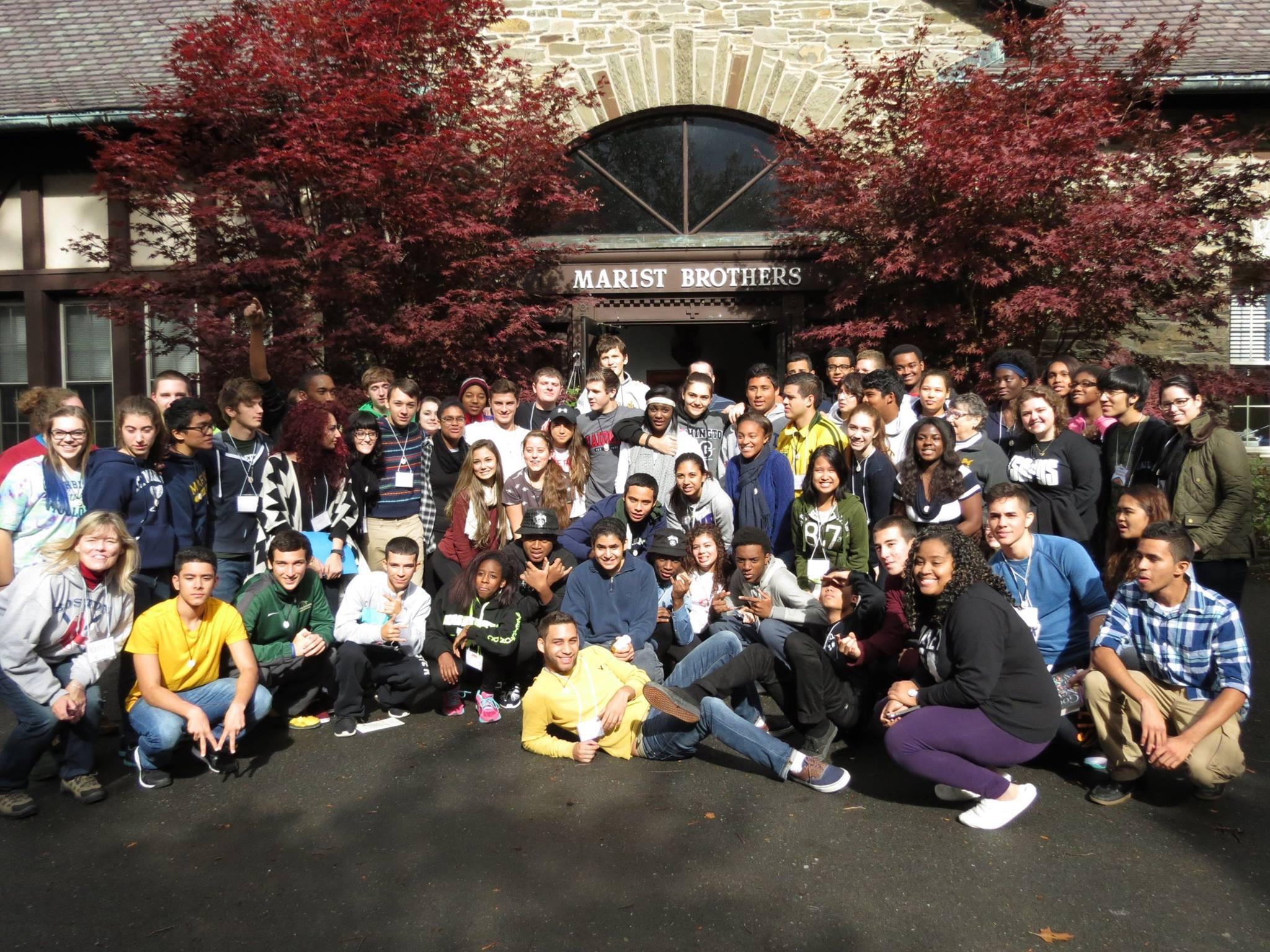 This group picture was taken at an October 2014 retreat for high school seniors and juniors from MA, NJ, and NY.