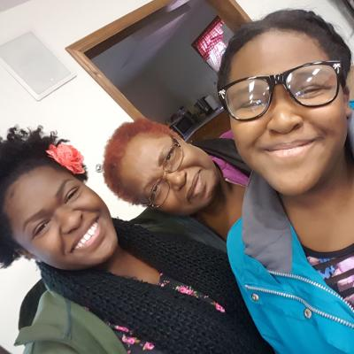 A photo with my sister, Kiara, and my paternal grandmother, Rose.